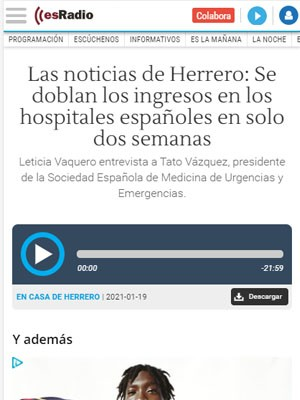 Leticia Vaquero entrevista a Tato Vázquez, presidente de la Sociedad Española de Medicina de Urgencias y Emergencias.