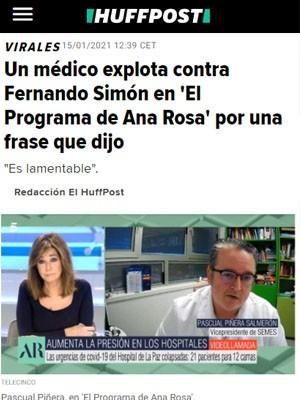 Un médico explota contra Fernando Simón en 'El Programa de Ana Rosa' por una frase que dijo