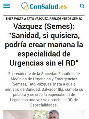 """Vázquez (Semes): """"Sanidad, si quisiera, podría crear mañana la especialidad de Urgencias sin el RD"""""""
