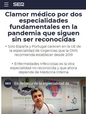 Clamor médico por dos especialidades fundamentales en la pandemia que siguen sin ser reconocidas