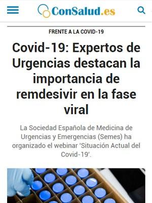 Covid-19: Expertos de Urgencias destacan la importancia de remdesivir en la fase viral