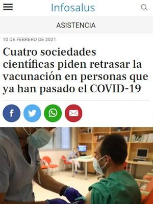 Cuatro sociedades científicas piden retrasar la vacunación en personas que ya han pasado el COVID-19