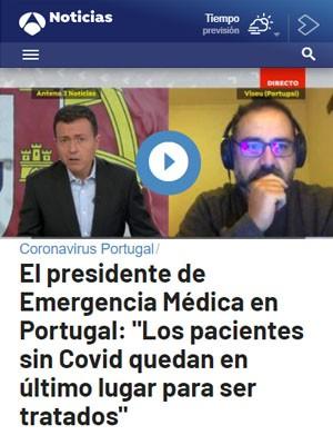 """El presidente de Emergencia Médica en Portugal: """"Los pacientes sin Covid quedan en último lugar para ser tratados"""""""