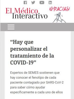 """""""Hay que personalizar el tratamiento de la COVID-19"""""""