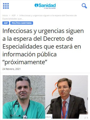 """Infecciosas y urgencias siguen a la espera del Decreto de Especialidades que estará en información pública """"próximamente"""""""