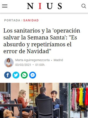 """Los sanitarios y la 'operación salvar la Semana Santa': """"Es absurdo y repetiríamos el error de Navidad"""""""