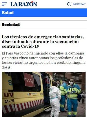 Los técnicos de emergencias sanitarias, discriminados durante la vacunación contra la Covid-19