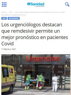 Los urgenciólogos destacan que remdesivir permite un mejor pronóstico en pacientes Covid