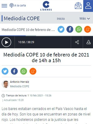 Pascual Piñera Salmerón en Mediodia COPE