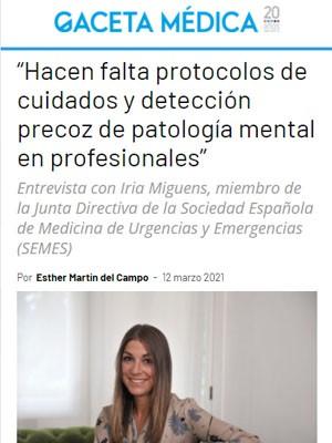 """""""Hacen falta protocolos de cuidados y detección precoz de patología mental en profesionales"""""""