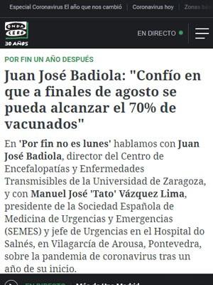 """Juan José Badiola: """"Confío en que a finales de agosto se pueda alcanzar el 70% de vacunados"""""""