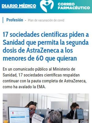 17 sociedades científicas piden a Sanidad que permita la segunda dosis de AstraZeneca a los menores de 60 que quieran