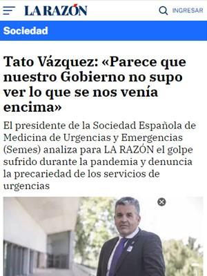 Tato Vázquez: «Parece que nuestro Gobierno no supo ver lo que se nos venía encima»