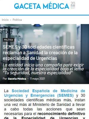SEMES y 30 sociedades científicas reclaman a Sanidad la creación de la especialidad de Urgencias