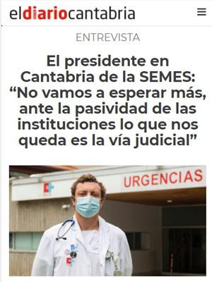 """El presidente en Cantabria de la SEMES: """"No vamos a esperar más, ante la pasividad de las instituciones lo que nos queda es la vía judicial"""""""