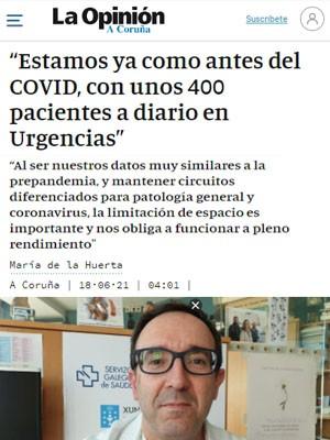 """""""Estamos ya como antes del COVID, con unos 400 pacientes a diario en Urgencias"""""""