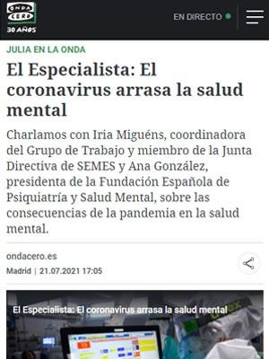 La Dra. Iria Miguéns habla en Onda Cero sobre el nuevo Grupo de Trabajo de depresión y suicidios